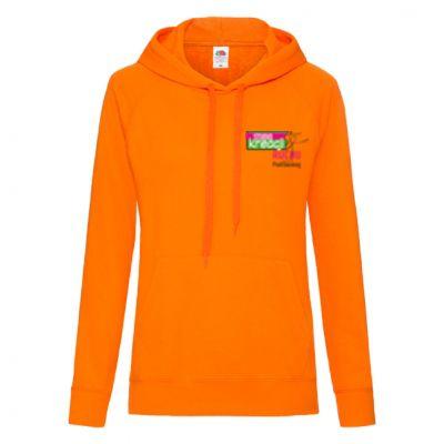 Damska, lekka bluza kangurek z kapturem pomarańczowy 44