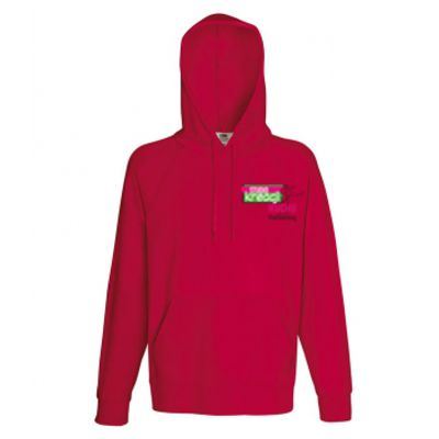 Męska, lekka bluza kangurek z kapturem kolor czerwony 40